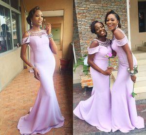 2018 Modern Lavender Mermaid Bridesmaid Dresses Cap Sleeves Beaded Satin Long Nigeria Wedding Guest Dress Evening Party Gowns FS6883