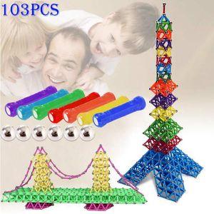 103pcs blocs de construction de bâtons magnétiques de jouets ont placé des jouets éducatifs pour des enfants aimant le cadeau de Noël