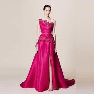 2016 Mais Novo de Cetim Prom Vestidos de Um Lado Do Ombro Dividir Prom Vestidos Applique Até O Chão Sem Mangas Marchesa Resort Árabe Vestidos de Baile