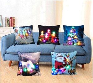 Natal LED Flanela Fronha Pessoal Lombar Travesseiro Almofada Covers Criativo Pillowlip Festa de Natal Do Hotel Decoração de Casa Presentes TWR 005