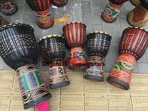 Djembe Drummer Percussion Hand Drum Classic Painting Wooden African Style Free shipping