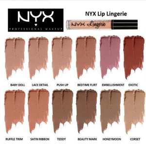 Hot sale NYX Lip Lingerie Liquid Matte Lip Cream Lipstick 12 Colors Charming Long-lasting Brand Makeup Lipsticks Lip Gloss Free Shipping
