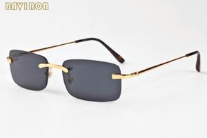 com caixa de 2020 óculos de sol moda retângulo sem aro para homens chifre retro búfalo do vintage óculos mulheres esportes dos homens óculos óculos
