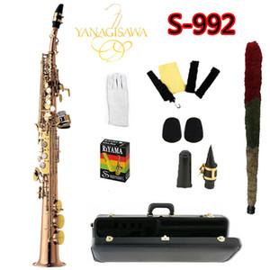 Nueva llegada S-992 YANAGISAWA latón Saxofón Soprano B Oro plano Laca saxofón profesionalmente Jugar Yanagisawa Instrumentos Musicales