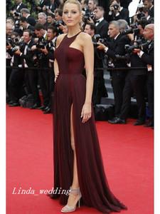 Frete Grátis Blake Lively Jennifer Lopez Gossip Girl A-Line Princesa Sem Mangas Chiffon Ruffles Até O Chão Celebridade Vestido Vestido de Noite