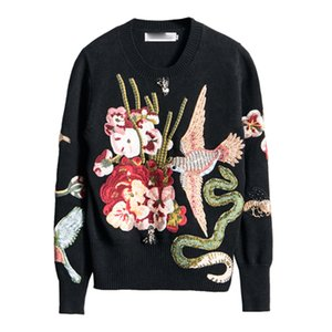 Atacado-ALTA QUALIDADE mais nova moda 2017 Runway Designer camisola das mulheres manga comprida impressionante bordado frisada Pullover Sweater