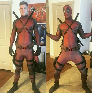 Hot Marvel Halloween Deadpool Cosplay Vollkörper Deadpool Kostüm Erwachsene Digital Print Lycra Kostüm mit Hüfttasche Gürtel