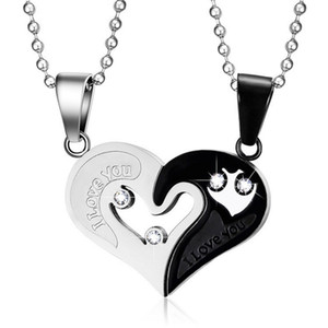 Mens chaîne en acier inoxydable colliers pour couples coréens dames de la mode paire couplé suspension puzzle correspondant pendentifs coeur noir colliers d'amour