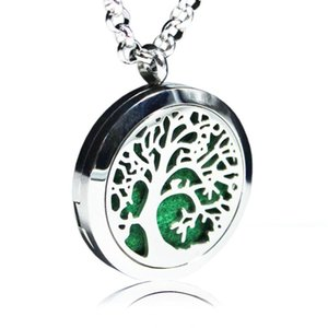 Aromatherapy Essential Oil Diffuser Necklace Hollow Tree 316L Stainless Steel Locket pendant with Ajustable Chain and 6 Refill Pads