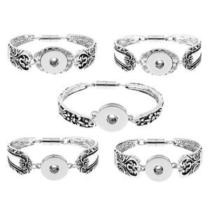 Pulseras a presión para las mujeres Pulsera plateada de plata Fit 18mm Ginger Snaps Intercambiable DIY Snap Button Jewelry