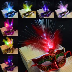 12 Colori LED Maschere di Halloween Party Flash Glowing Feather Maschera Mardi Gras Masquerade Cosplay Maschere Veneziane Costumi di Halloween Regalo WX9-61