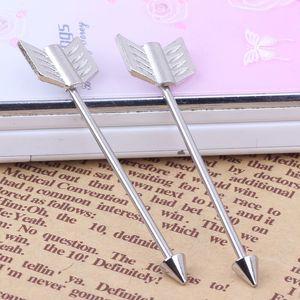 الفضة الحب السهم عشيق الخواتم 16G 38MM طويلة الصناعية الحديد المقاوم للصدأ هيئة ثقب الأذن المجوهرات