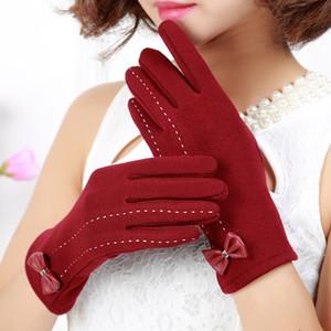 Перчатка Мода сенсорный экран перчатки красочные хлопка зимы лук Перчатки теплые смартфонах вождения перчатки подарка для мужчин женщин