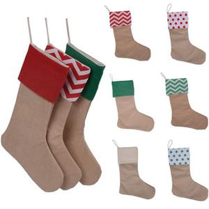 12 * 18 inç yüksek kalite 2017 tuval Noel stocking hediye çanta tuval Noel Noel checvron stocking dekoratif çorap çantası