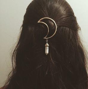 Europe et les États-Unis bijoux printemps et en été marée cheveux ornements en alliage lune pendentif hexagonal accessoires pour cheveux pinces à cheveux beautifu