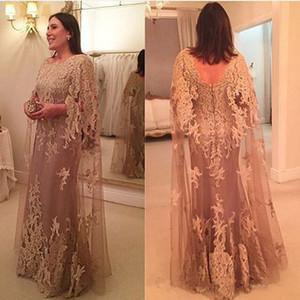 Şampanya Dantel anne Gelin Damat Elbiseler A Hattı Jewel Boyun Wrap Uzun Anne Örgün Parti Elbiseler ile Tam Aplikler