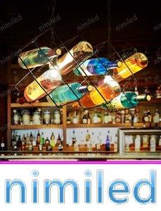 Nimi1106 Americano Creativo Personalidad Retro Bar Cafe Restaurante Lámpara Colgante Dormitorio Nordic Art Glass Bottle Chandelier Luces de Iluminación