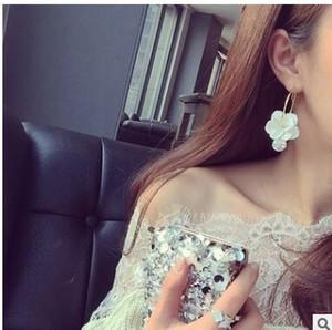 2017 YENI yaz akrilik büyük çiçekler saplama küpe inci elmas aksesuarları abartılı moda büyük küpeler üç stilleri seçebilirsiniz
