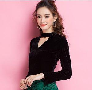 Осень новая мода женская холтер шеи v-образным вырезом выдалбливают с длинным рукавом vent jag сексуальный бархат черный цвет рубашки топы 3XL