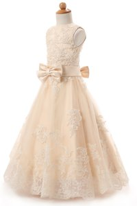 In Stock Champange Flower Girl Dresses Jewel Neck Appliques Beaded Lace Floor-length A-line Little Kids Dresses