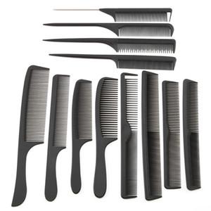 Großhandel 12 Artfrisur Schwarzes Haar-Ausschnitt-Kamm Carbon-Haarstielkämme unterschiedlicher Entwurf Pro Salon Barber Styling Werkzeuge