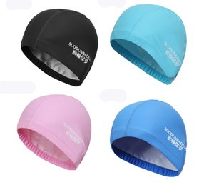 High Quality PU Leather Ear Protection Swimming Cap Adult Men Women Waterproof Swimming Hat Silver Black Blue Pink Fast Shipping