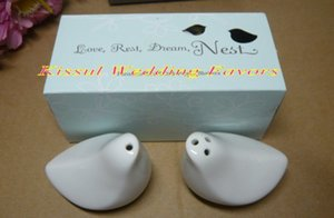 100Pcs lot=50Sets=50Boxes Wedding gift favors of Love Birds Salt and Pepper Shakers For wedding and Party decorations
