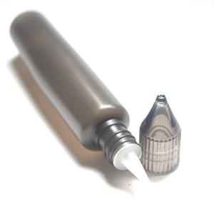 As garrafas 30ml pretas esvaziam a garrafa plástica do conta-gotas da forma da pena com tampão colorido 30 ml garrafa do líquido de E