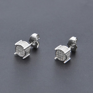 Hip Hop Iced Out Silber 3d Runde Seite CZ simuliert Lab Diamond Screw Back Stud Ohrring