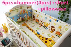 2016 6 PCS Baby Bedding Set Bebê berço berço berço cama conjunto cunas Folha de berço Bumper (amortecedores + folha + fronha)