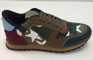 Frauen Männer Stern verzierte Schuhe Mesh-Leder Camouflage verzierte Schuhe Combo Stars Rock Runner Metallic Schnürer Rock-Bolzen-freies Verschiffen
