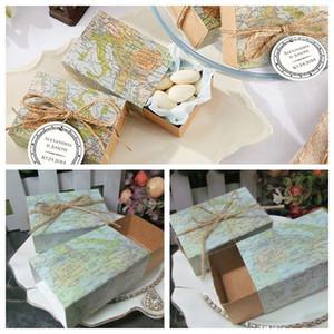 """100 Pz / lotto """"Intorno al Mondo"""" Mappa Scatola di Favore per il viaggio a tema decorazione di nozze confezione regalo e scatola Kraft Favore di partito scatola di caramelle Spedizione gratuita"""