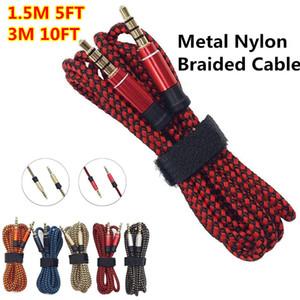 Непрерывный металлический нейлон круглый Braiede аудио кабель 1.5 м 3 м 3.5 мм мужской стерео вспомогательное расширение AUX для мобильного телефона MP3 динамик планшетный ПК