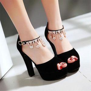 Sandalen Flock Schuhe Frau klein 32 33 Große Größe 46 45 44 43 42 41 40 High Heel 11.5CM EUR Größe 31-47