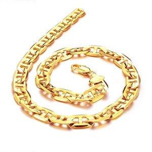 Güzel Kolye JEWELLERY 24 K Altın kaplama Kolye 9mm geniş Link zinciri serin erkekler Için ÜCRETSIZ KARGO fabrika fiyat promosyon
