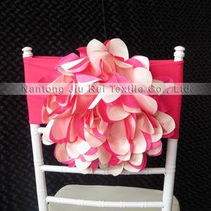 Hot Pink Taffetas 35cm Dia Fabriqué À La Main Grande Fleur Lycra Chiavari Chaise Band 100 PCS Avec Livraison Gratuite