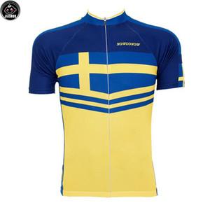 Classique NORVÈGE BlueYellow NOUVEAU vtt route RACE Team Bike Pro Cyclisme Jersey / Chemises Hauts Vêtements Respiration Air JIASHUO