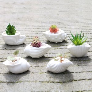 6pcs / set Mini Branco Pequenas Vaso shell Forma Cerâmica Titular Suculenta Vaso de Flor Fairy Garden Cactus Flower Pots Planter