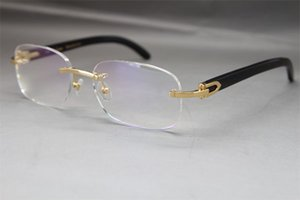 핫 무테 8200757 남성 블랙 버팔로 호른 안경 안경 프레임 남성 실버 골드 메탈 프레임 안경 C Decoratio 크기 : 56-18-140mm