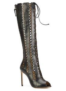 2017 nuove donne stivali alti gladiatore stivali tacco sottile stivaletti peep toe stivali in pelle verniciata taglia fuori mujer botas scarpe partito signore inverno