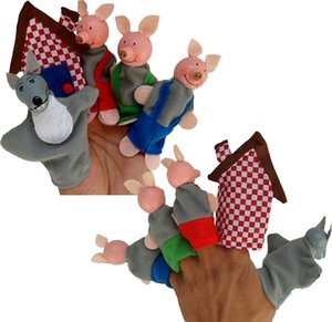 Ücretsiz Üç Küçük Domuz El Parmak Kuklaları Bez Bebek Noel Baba Hayvan Oyuncak Bebekler Hikayeci Talking Sahne Bebek Eğitim Parmak Kuklalar