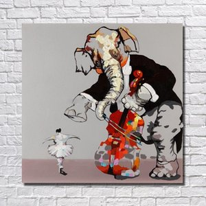 Enmarcado The Elephant Cello And Girl Dance, Pure Hand Painted Modern Wall Decor Abstract Animal Art Oil Painting Canvas.Multi tamaños ali-MYT