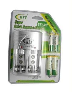 أرخص BTY 1.2V AAA 4 * 1350mah قابلة للشحن بطارية Ni-MH + BTY-802 AA / AAA شاحن بطارية مع حالة التعبئة شحن مجاني