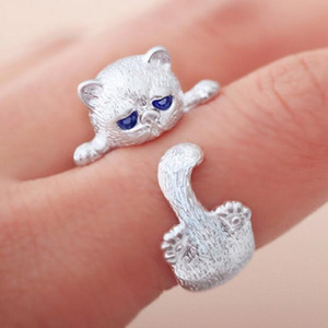 Lovely Fashion Plaqué Bagues en argent de chat mignon pour femme Yeux de chat animal ouvert Bague Bijoux Vintage G894