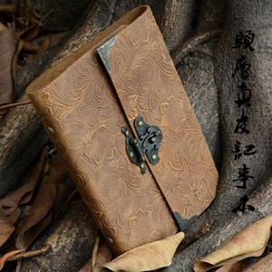 Al por mayor-Auténtico cuero de vaca, libro de tapa dura, contraseña con bloqueo, bloc de notas, cuero genuino, cuaderno retro europeo, envío gratuito
