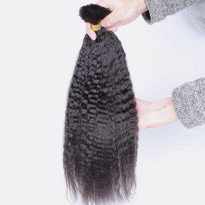 Squisita Kinky Dritto Bulk Braiding Capelli Nessuna trama Economici Brasiliani Brasiliani Yaki Yaki Estensioni dei capelli umani in Bulk 3 Bundles Deal per micro treccia