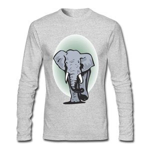 100% Pure Cotton Men's Long T-Shirt Print Elephant Casual and Sports T-Shirt For Autumn and Winter