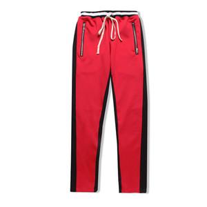 Высокого качество Новой сторона молнии случайных Sweatpants мужчин HipHop Jogger брюки зеленый цвет брюки
