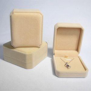 Venta al por mayor cajas de joyas de terciopelo para pendientes de collar delicado flocado cajas de joyas plegables regalo del día de san valentín