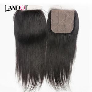 Silk Basis Schließung brasilianische gerade Jungfrau-Menschenhaar-Spitze Verschlüsse frei / Mitte / 3-Wege-Teil brasilianische Haar Verschluss natürliche Farbe 4x4 Größe